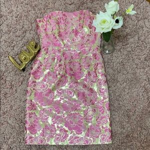 Beautiful Gold and pink floral strapless dress